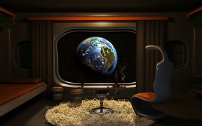 Picture space, room, planet, Earth, Window