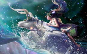 Picture wave, girl, squirt, stars, fantasy, Europe, flight, fantasy, constellation, Diadema, wreath, flight, stars, bull, CG …