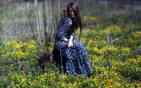 Picture forest, flowers, pose, Girl, dress