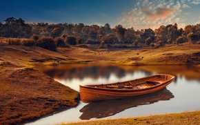 Picture river, boat, treatment