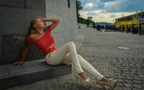 Picture girl, shoes, brown hair, white, jacket, the sidewalk, sitting, red, promenade, pants, posing, Polina Gulyaeva