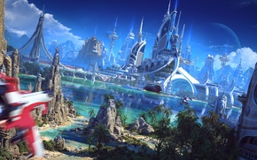 Wallpaper futuristic world, sailboat, palace, sand, beach, suna, palm trees, Spaceship, river, rocks, vessel, bridge