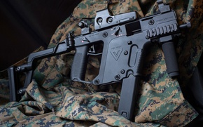 Wallpaper weapons, jacket, the gun, Super V, KRISS Vector, camouflage