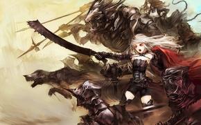 Picture sword, horns, monster, armor, devil