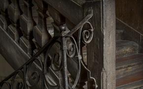 Picture corridor, ladder, railings, old
