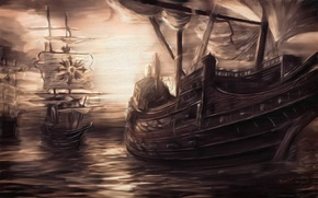 Wallpaper sea, water, ships, sails, the sky, painting