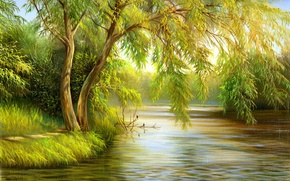 Wallpaper canvas, birds, green, nature, trees, painting