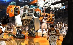 Picture machine, fragments, the game, robot, balls, art, basketball, broken, players, match