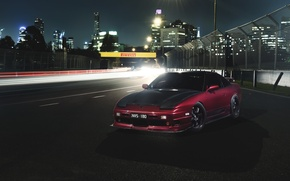 Picture car, night, track, nissan 180sx