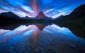 Wallpaper mountains, lake, reflection, boat, Montana, Sinopah Mountain, Two Medicine Lake. Glacier National Park