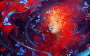 Picture girl, butterfly, flowers, art, Helen Rusovich