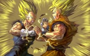 Picture battle, guys, anime, art, dragon ball, vegeta, son gokuu