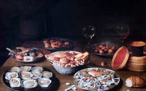 Picture picture, Brussels, Still life with lobster, Osias Beert, 1624, Still life with oysters