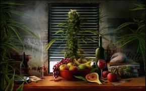 Wallpaper grass, table, wine, apples, books, Bush, bottle, package, window, plate, grapes, still life, banana, pear, ...