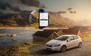 Picture grass, water, mountains, clouds, home, volvo, Volvo, C40, v40