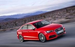 Picture Audi, Red, The evening, The hood, Sedan, Car, In Motion