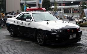 Picture Skyline, Saitama Prefecture, Japanese police, GTR R34, BNR 34