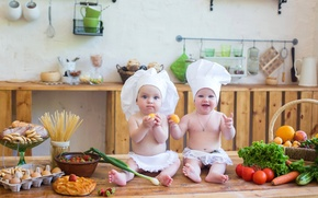 Picture children, baby, strawberry, kitchen, fruit, vegetables, tomatoes, cakes, baby, kid, pasta, kitchen, Vegetables, Infants