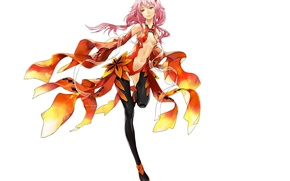 Picture stockings, white background, pink hair, Guilty Crown, Yuzuriha Inori, Guilty crown