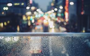 Picture glass, drops, Tokyo, bokeh