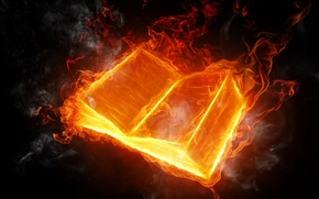 Picture background, fire, flame, black, languages, book