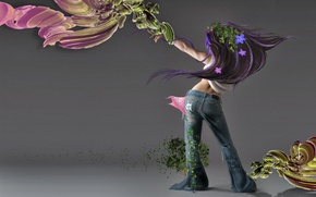 Wallpaper VIEW, BACK, FLOWERS, JEANS, GIRL, BACKGROUND