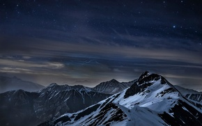 Picture mountains, night, stars