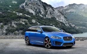 Picture Mountains, Machine, Jaguar, Beautiful, Car, Car, Blue, 2015, Jaguar XFR-S