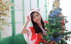 Picture girl, joy, smile, background, holiday, toys, tree, Asian