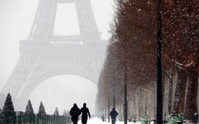 Picture city, Paris, trees, France, winter, snow, street, people, romantic, couple, La tour Eiffel, walking, the …