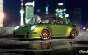 Picture Porsche, Green, Turbo, Modern, 993, by Gurnade