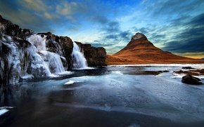 Picture the sky, rocks, mountain, waterfall, the volcano, Iceland, Kirkjufell