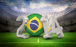 Picture stadium, football, flag, World Cup, Brasil, FIFA, 2014, World Cup soccer 2014