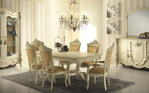 Picture room, chandelier, interior, table, chairs, dining room
