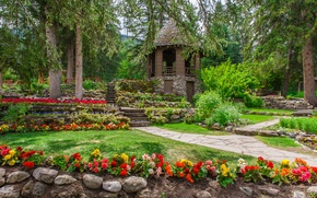 Picture greens, grass, trees, flowers, Park, stones, lawn, garden, Canada, steps, gazebo, the bushes, Banff, begonias, …