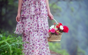 Picture dress, nature, flowers, mood, women, spring