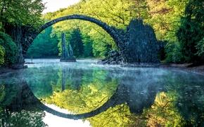 Picture bridge, reflection, river, Park