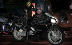 Picture motorcycle, mass effect, omega, fan art, thane, omega, Thane