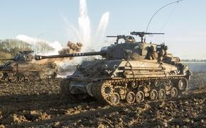 """Picture field, battle, dirt, tank, M4 Sherman, Fury, """"Fury"""""""