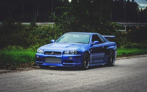 Picture Nissan, Blue, Skyline, Road, GT-R34