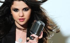Picture look, girl, hair, microphone, singer, Selena Gomez, Selena Gomez