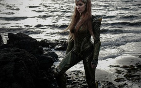 Picture cinema, wallpaper, rock, beach, sea, crown, movie, Amber Heard, hero, queen, film, suit, princess, DC ...