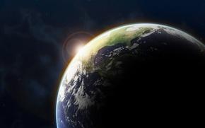 Wallpaper the sun, earth, Space