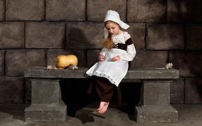 Picture girl, Cinderella, pumpkin, mouse, tear
