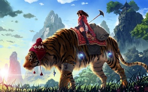 Wallpaper tiger, girl, mountains, kankurou, spear, grass