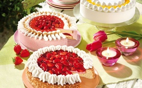 Picture table, holiday, candles, cream, strawberry, tulips, nuts, cream, cakes, serving