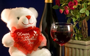 Picture flowers, wine, glass, bear, heart, Day Svatovo Valentine