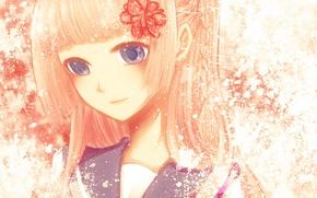 Picture flower, eyes, portrait, blue, Face, pigtail