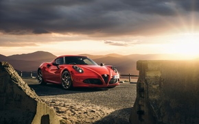Wallpaper Red, Car, Front, Sunset, Sport, Launch Edition, 2015, Alfa-Romeo