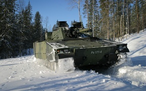 Picture machine, forest, snow, combat, infantry, CV-9030